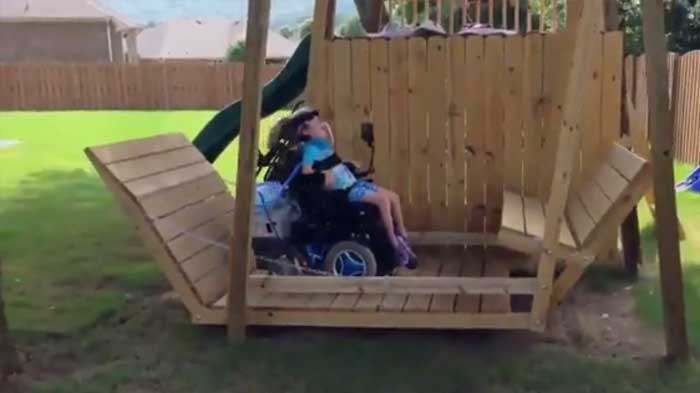 Amazing father builds giant swing for his wheelchair bound for How to build a swing chair